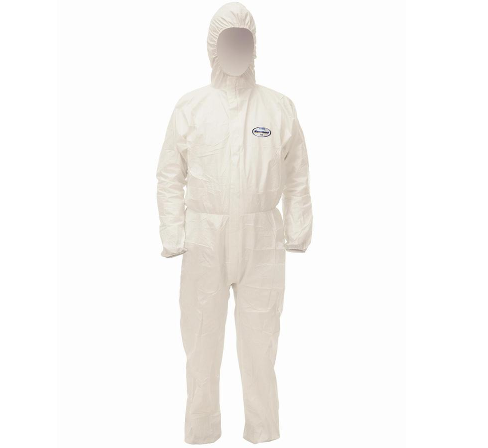 KLEENGUARD* A40 Liquid and Particle Protection Hooded Coveralls, White