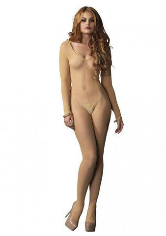 Sheer Long Sleeve Bodystocking Nude - O/S