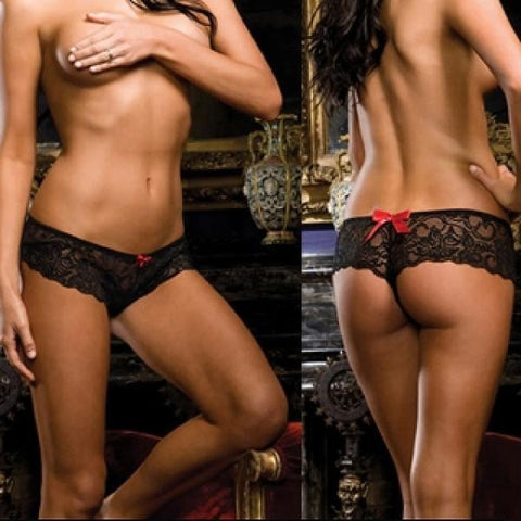 3/4X  - Lace Crotchless Short - Black