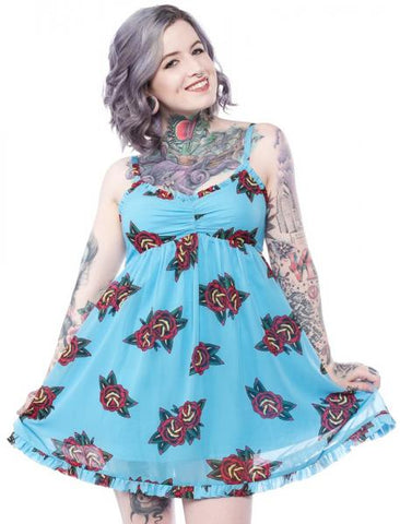 Tattoo Roses Dolly Dress - Aqua
