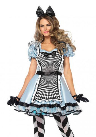 Two Piece Hypnotic Miss Alice Dress - Blue/Black/White -