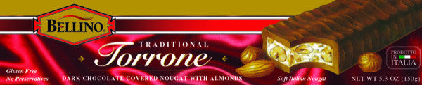 Bellino Chocolate Covered Torrone Bar  5.3 OZ