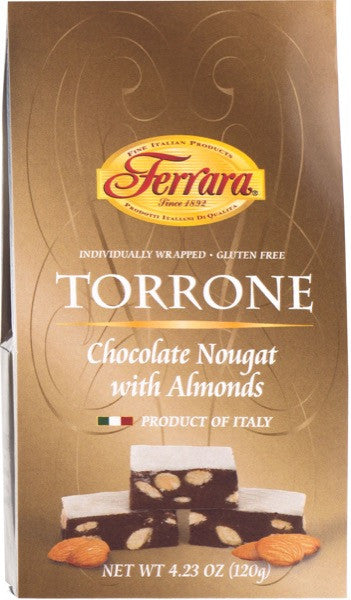Ferrara Chocolate Nougat with Almonds Torrone Miniatures  4.23 OZ