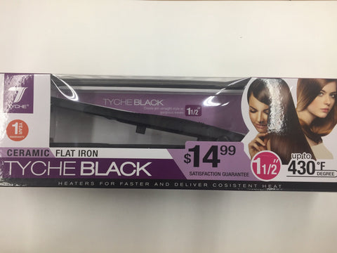 Tyche Black Ceramic Coated Plate Flat Iron 1 1/2""