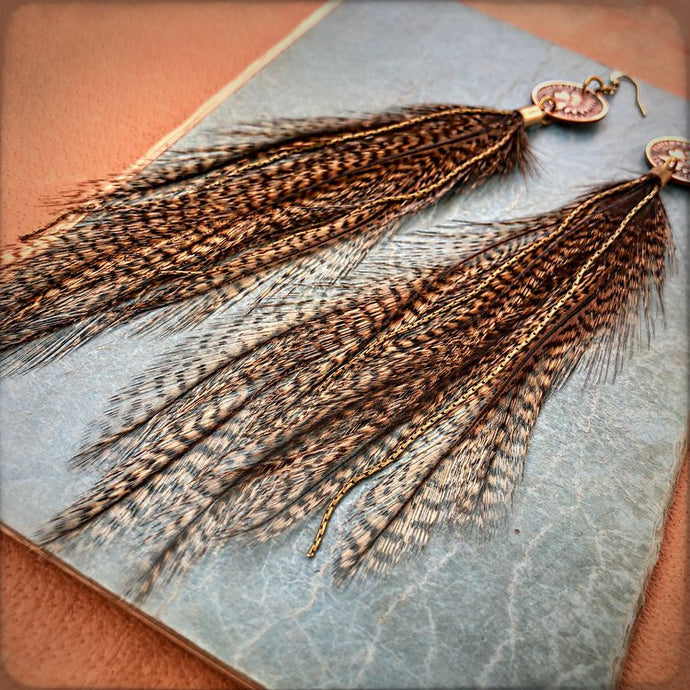 Indian Head Cent & Leather Tassel Earrings