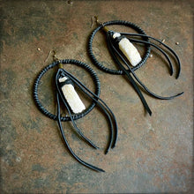 Leather Hoop Earrings - White Druzy & Black