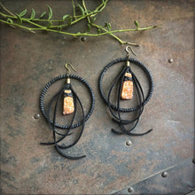 Leather Hoop Earrings - Peach Druzy & Black
