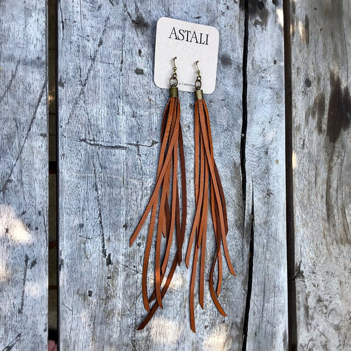 Leather Tassel Earrings - Rust