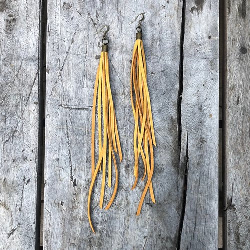 Leather Tassel Earrings - Gold
