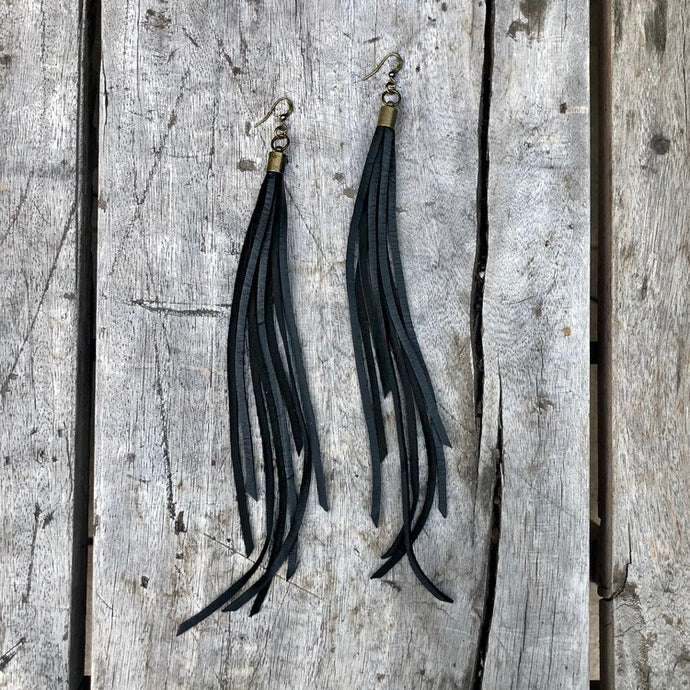 Leather Tassel Earrings - Black