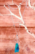 Mindful Square Long Silver Necklace (Blue Agate) - Funraise