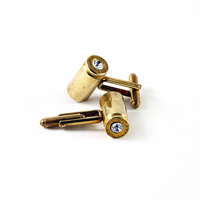 9mm Bullet & Crystal Cuff Links - Funraise