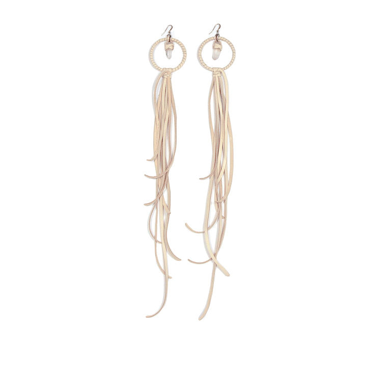 Crystal & Leather Tassel Earrings - Funraise