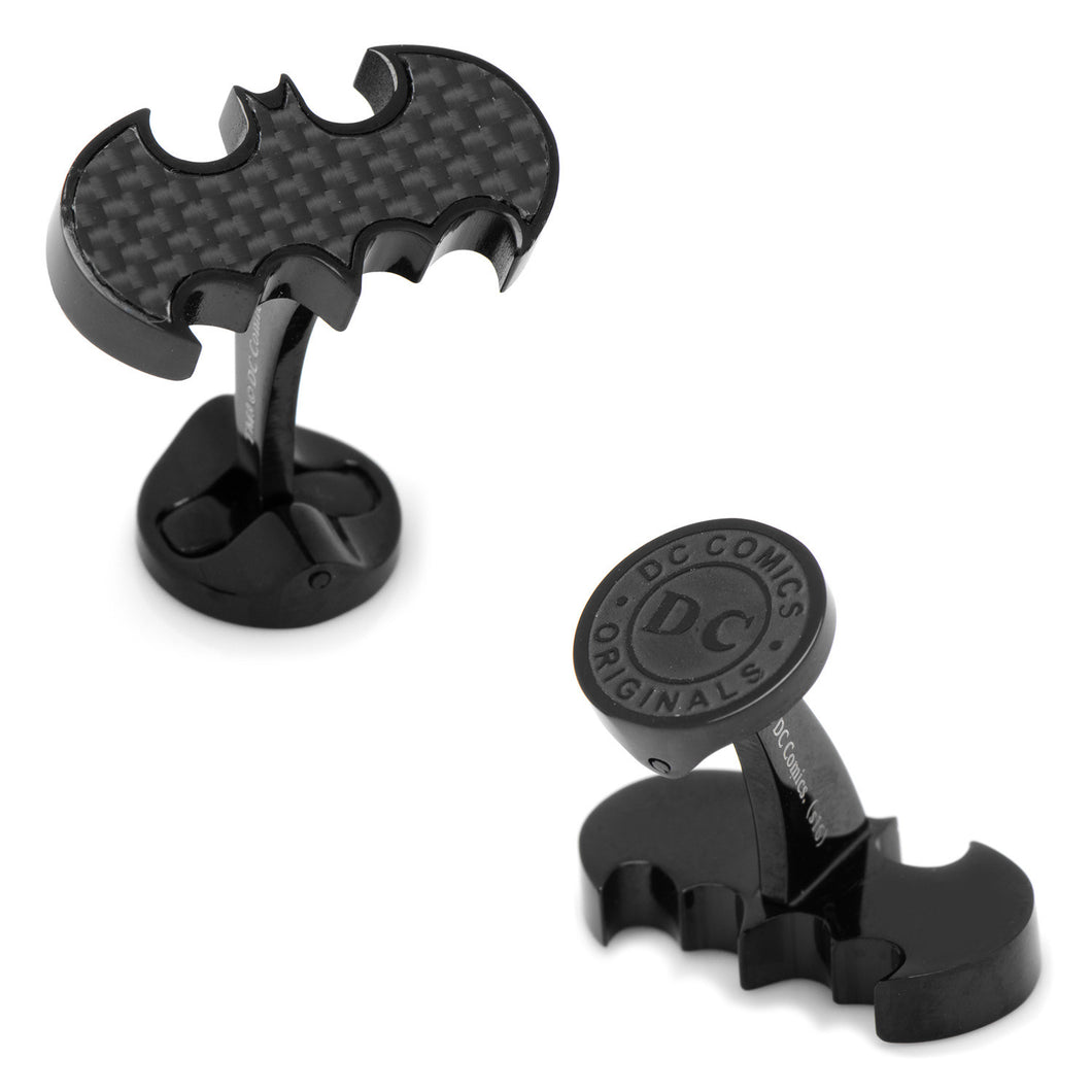 Stainless Steel Carbon Fiber Batman Cufflinks - Funraise