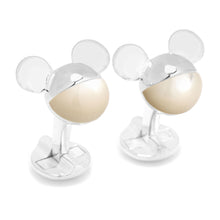 3D Silver Mother of Pearl Mickey Mouse Cufflinks - Funraise