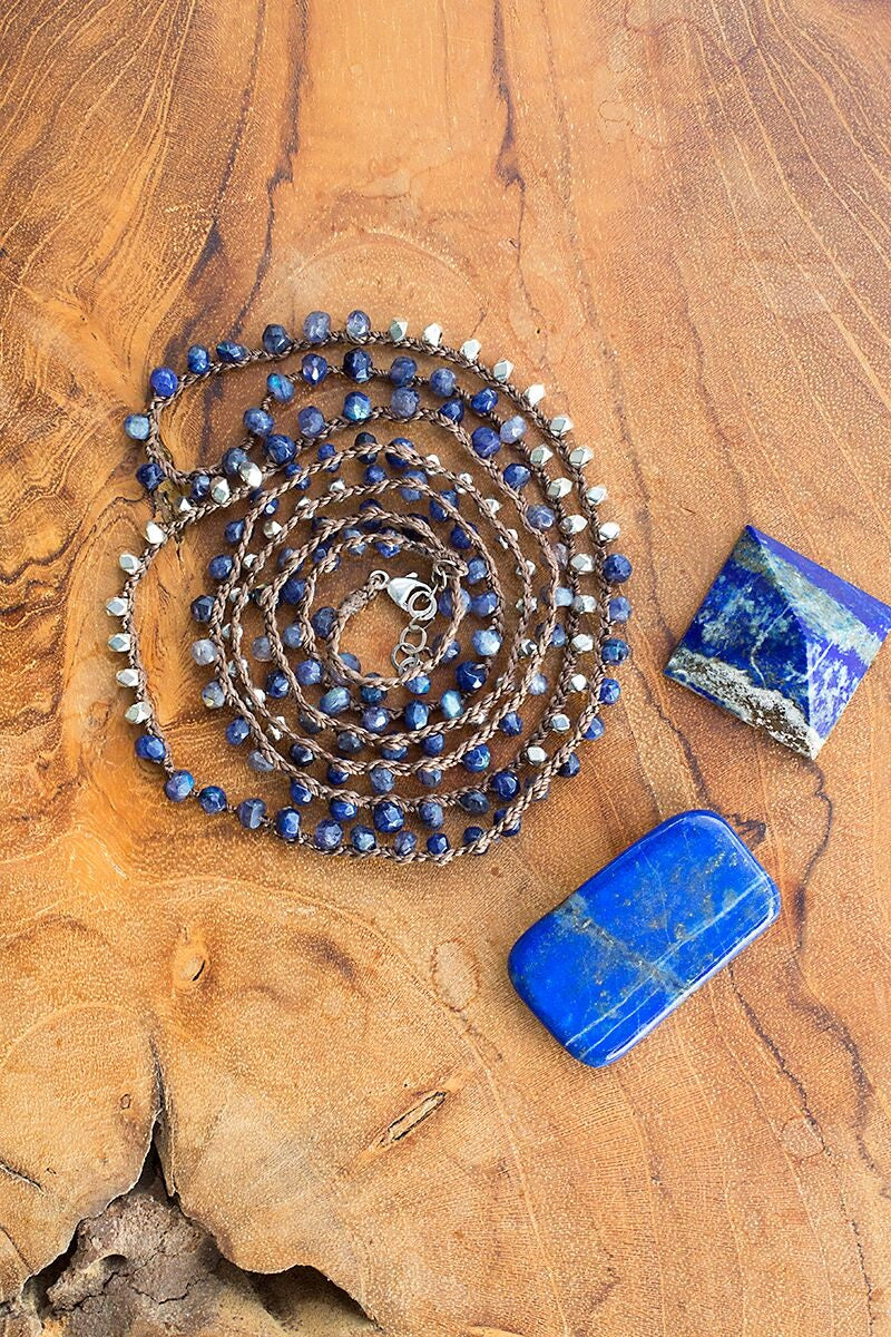 Lapis Lazuli Necklace-Convertible Wrap Bracelet-Double Layer Necklace-Anklet - Funraise