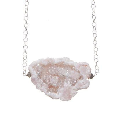 Geode Simple Rock Silver Necklace - Funraise