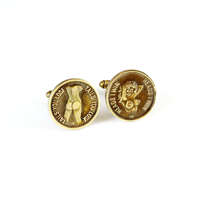 Heads & Tails Peep Show Token Cuff Links - Funraise