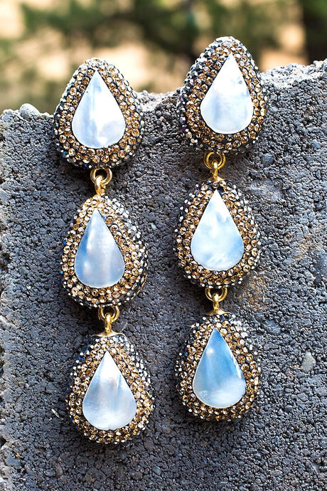 Moonlight Mother of Pearl 3 Tier Earrings - Funraise