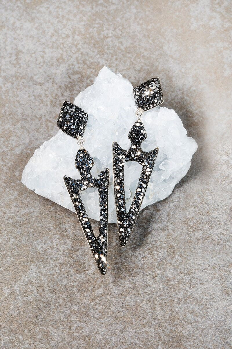 Meteorite Spike Grey Swarovski Crystal Earrings - Funraise