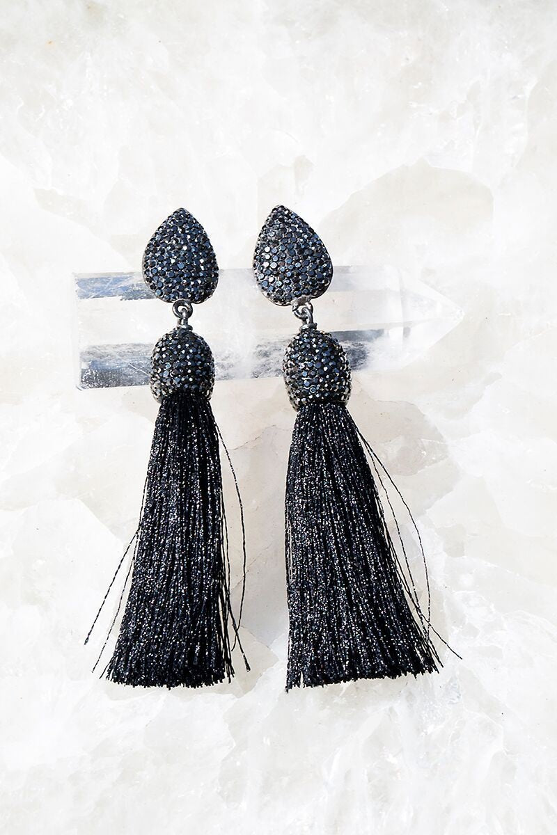 Rocco Tassel Earrings in Black - Funraise