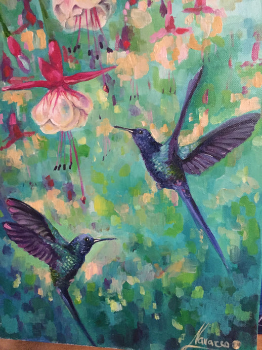 Fuchsias and humming birds