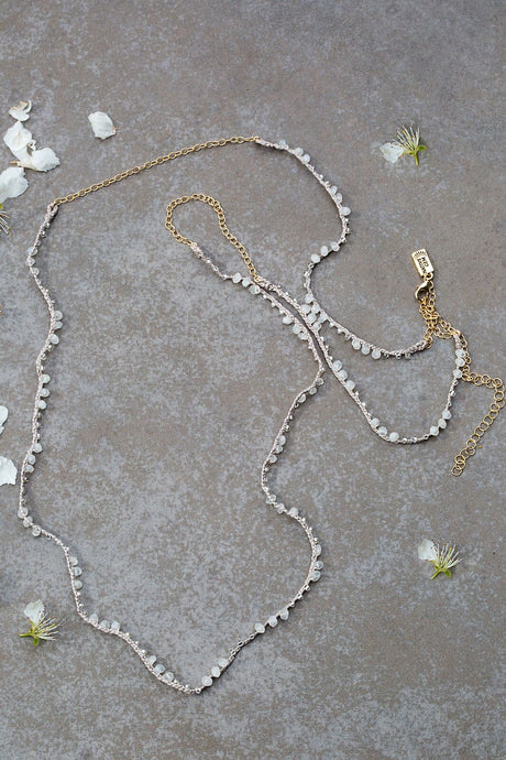 Ivy Ultra Long Moonstone Necklace-Convertible Wrap-Double Layer Necklace-Anklet - Funraise