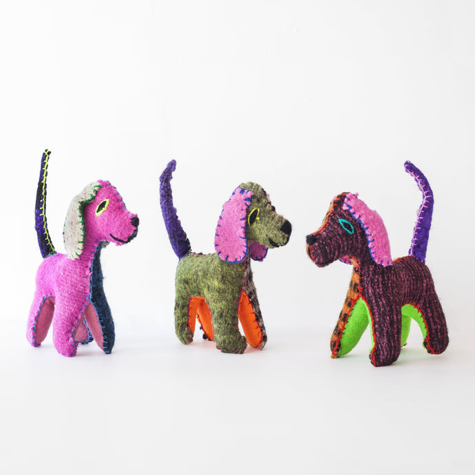 CHIAPAS Wool Felt Animalitos - Trio of Dogs