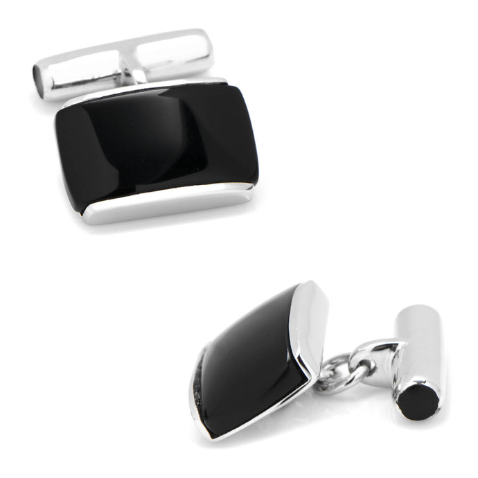 Sterling Silver Onyx Cushion Cufflinks