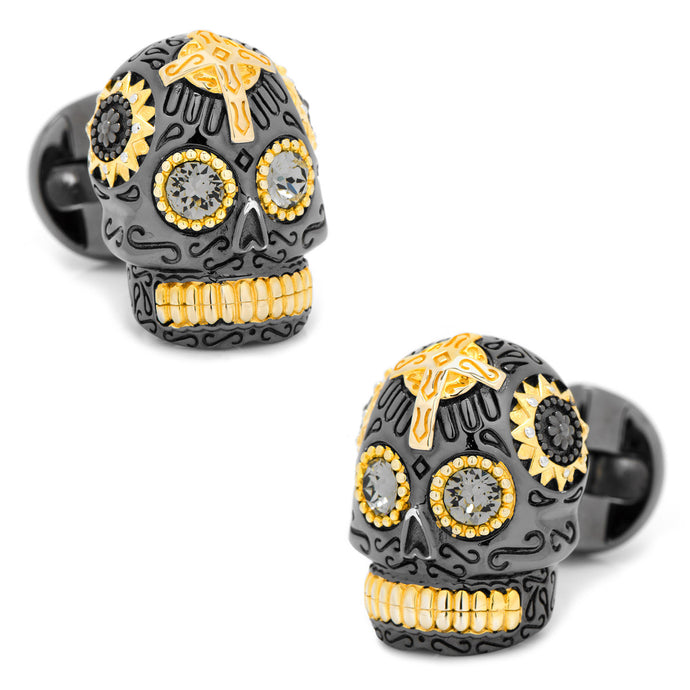 Black and Gold Vermeil Day of the Dead Skull Cufflinks - Funraise