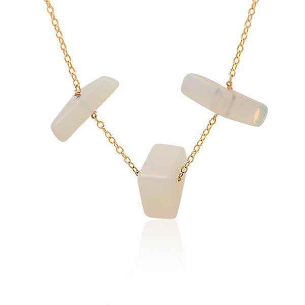OPALITE SIMPLE CHAIN 3 TRIANGLE Gold plated Necklace - Funraise