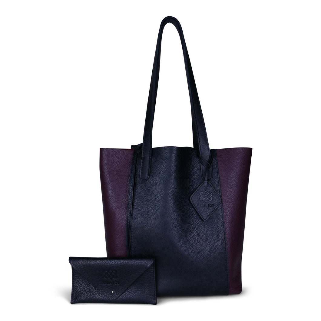 Petite Tote in Black & Wine