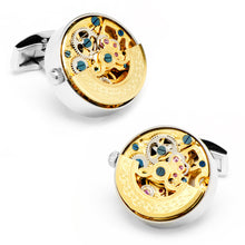 Gold and Silver Kinetic Watch Movement Cufflinks - Funraise
