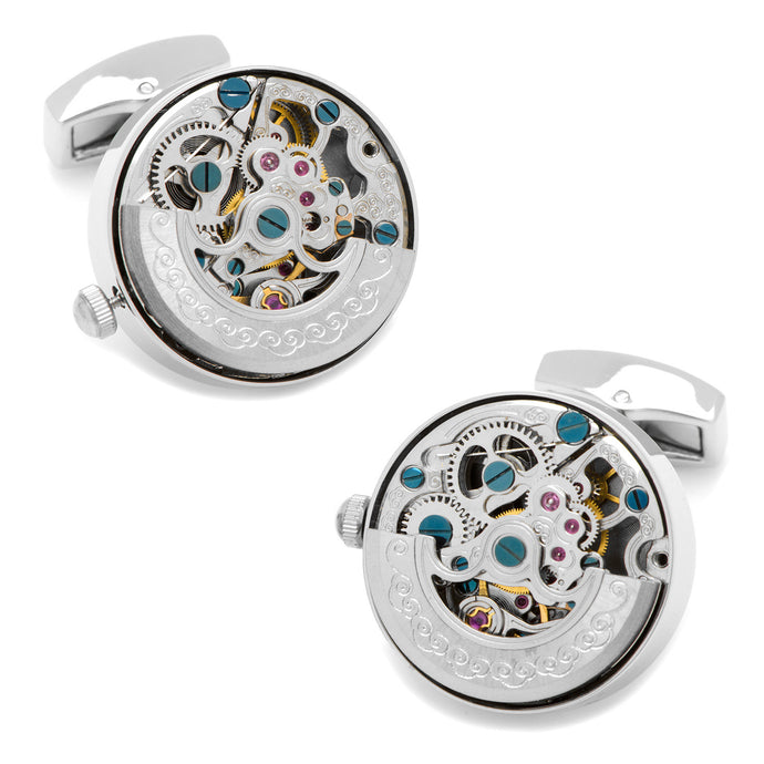 Silver Stainless Steel Kinetic Watch Movement Cufflinks - Funraise