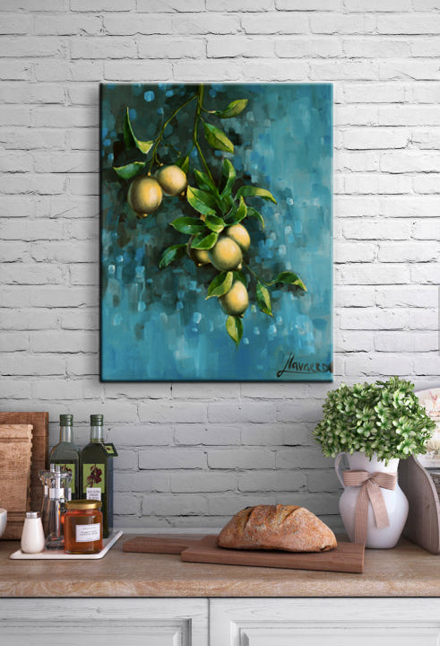 """Bunch Of Lemons"" Print On Watercolor Canvas Wall Art"