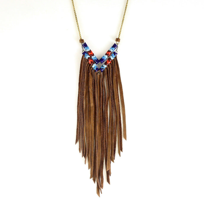 Leather Fringe Snake Glass Chevron Necklaces - Funraise