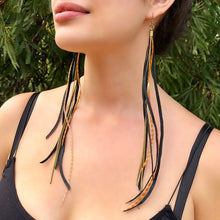 Leather & Feather Long Earrings - Black & Ginger
