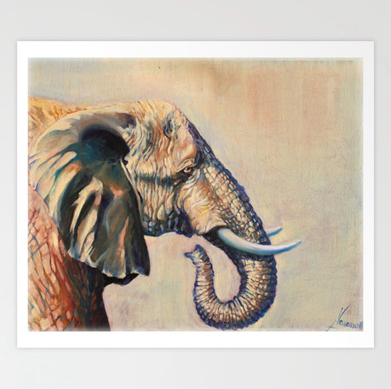 "Wildlife Animal Elephant Prints ""Beautiful Giant"" Canvas Wall Art"