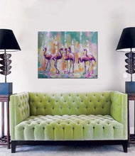 "Flamingo Print,""Pink crew"" Modern Canvas Wall Art"