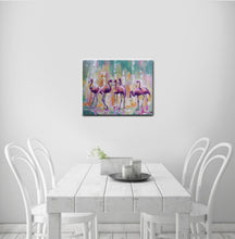 "Flamingo Canvas Print,""Pink crew"" Modern Canvas Wall Art"
