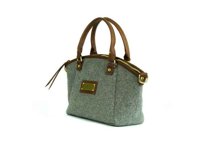 Grey Wool Handbag - Brown Leather