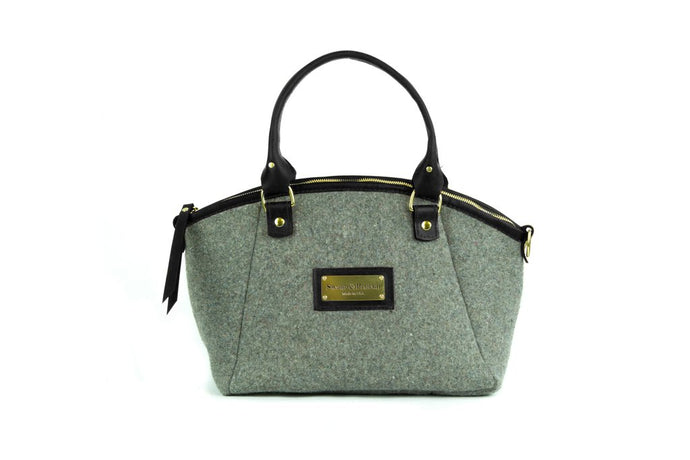 Grey Wool Handbag - Black Leather