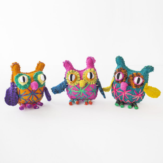Trio of Chiapas Wool Felt Animalitos  - Owls
