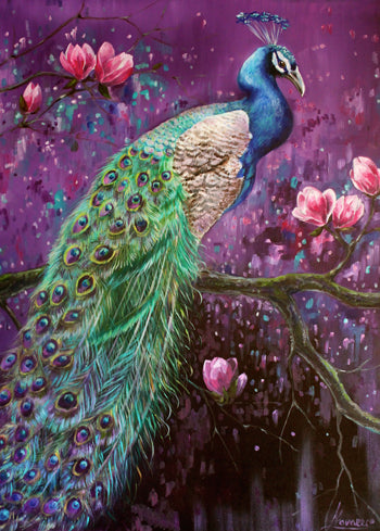 "Peacock Canvas Print ""Peacock On Magnolia Tree"" Bird Canvas Wall Art"