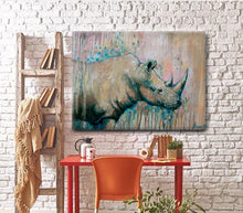 "African Animal Canvas Prints ""Rhino-friend"" Canvas Wall Art"