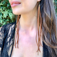 Leather & Feather Long Earrings - Rust