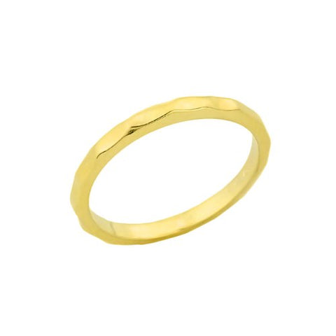 Stackable 10k Yellow Gold Sizable Hammered Toe Ring, Size 5.75