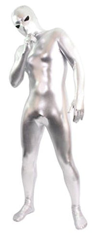 Seeksmile Unisex Alien Eyes Shiny Lycra Fancy Dress Bodysuit (XX-Large, Silver)