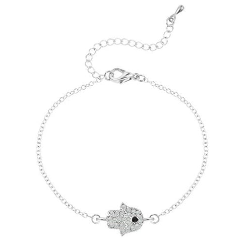 Handmade Pretty Tiny Hamsa Hand with Crystal and Rhinestones Bracelet Adjustable for Women or Girls Silver