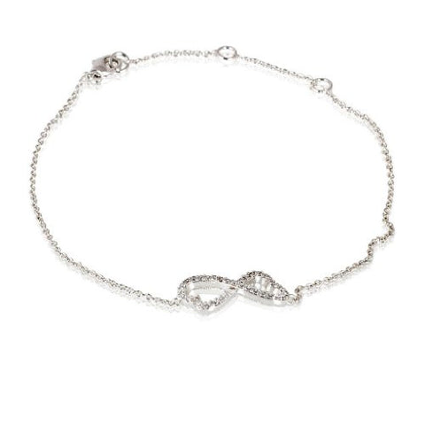 Fashion Plaza Silver Plated Link Bowknot Bracelet with Clear Crystal Links Bracelet B97